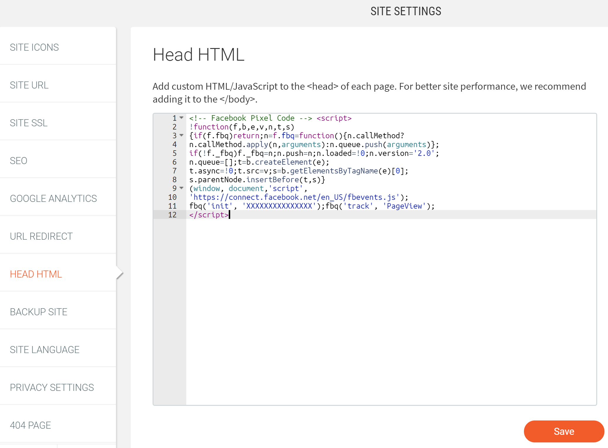 Site settings Head HTML